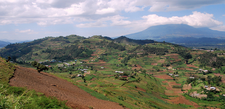 Rwandan Landscape: hills, valleys, mountains and volcanos